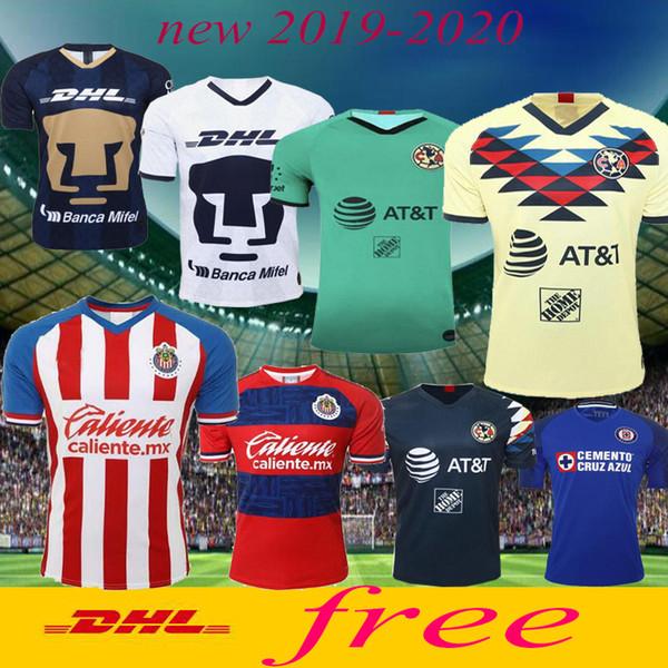 Dhl-freies verschiffen 2019 Top Mexiko League Club Amerika team Blau kreuz Tijuana Chivas Necaxa Tigres UANL 19 20 Thai qualität fußball trikots
