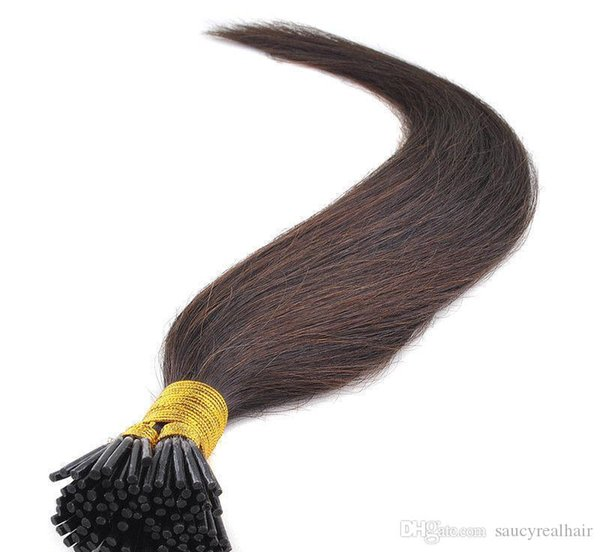 Stick I Tip in hair extensions Brown Color 1gr st pre-bonded remy hair extension 300gr Straight wave Lot, Free DHL