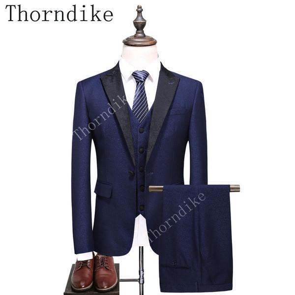 2018 New Brand Luxury Tuxedo Wedding Suits For Men Slim Fit Navy Tuxedo Jacket With Pants Vest Fashion Black Lapel Men Suits
