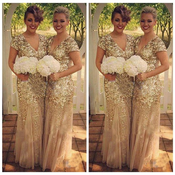 Gold Bridesmaid Dresses Mermaid 2019 Sequins Beads V Neck Short Sleeve Floor Length Tulle Sequined Formal Maid Of Honor Wedding Guest Dress Plus Size