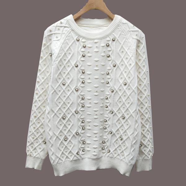 anneyao321 / Milão Runway Sweater 2019 New White Tripulação Pescoço de Manga Longa Beads Sweaters das Mulheres High End Jacquard Pullover Mulheres Camisola De