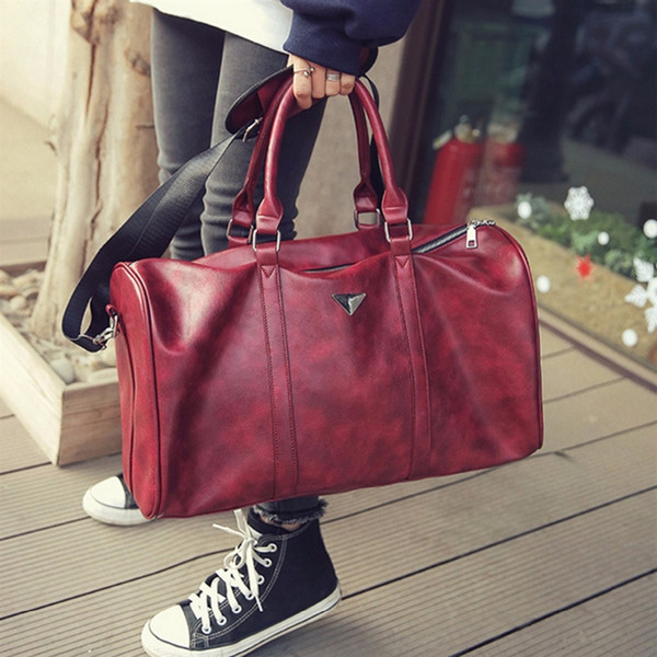 Large Sports Gym Bag for Women Men Red Black PU Leather Bag Tote Duffle Travel Shopping Large Space Waterproof #159392