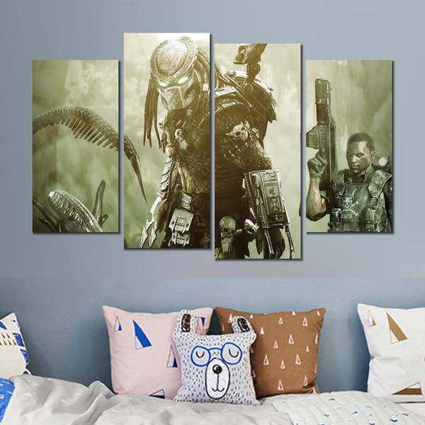 Aliens vs predator game view 4 sets impresión de lienzo pintura cuadros de la pared para la decoración de la habitación