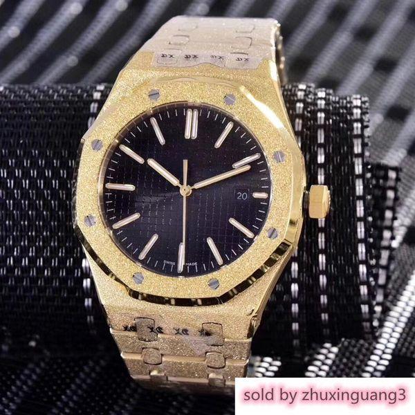 14 colori diamanti automatico sweep royal glassato quadrante nero rovere orologio da uomo in oro rosa lancette argentate ghiera fissa dimensione 42 mm smoot scorrevole