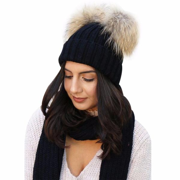 2018 Winter Warm Hats For Women Wool Knitted Beanies Caps Female Double Fur Pompom Hat Gorro Ladies Cap Skullies Bonnet Bobble S18120302
