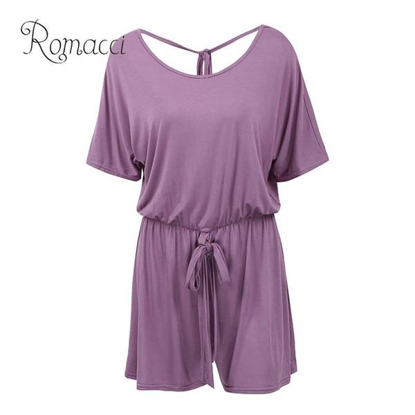 Romacci Sexy Women Summer Jumpsuit Shorts Manga corta Backless Plus Size Playsuit Elástico Cintura Vendaje Casual Romper Body Suit