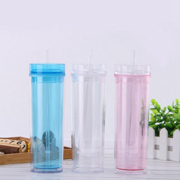 16oz transparente doppelte Strohschalen-Kaffeetassen mit Deckeln versiegeln auslaufsichere Plastikschale kreatives nettes gerades Schalen-Teekannengeschenk LJJZ320