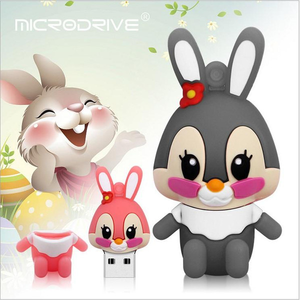 Fast Fast ship 1pcs Cute Cartoon silicone PVC usb disk USB 2.0 High speed Rabbit USB Flash Memory Stick Storage Drive 8gb 32gb 16gb