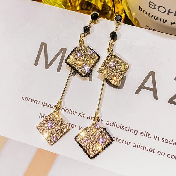 Coréenne Asymétrie Géométrique Boucles D'oreilles pour les Femmes Bijoux Bijoux Long Mignon Iced Cube Double Place Pendientes Brincos O5E700