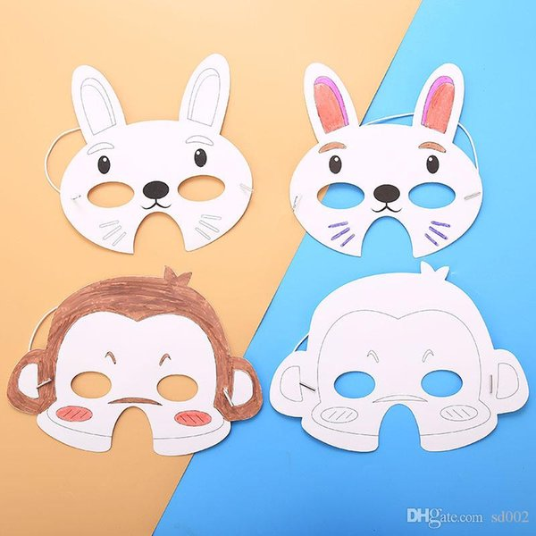 Child Graffiti Mask Diy Blank Painted Facepiece Kindergarten Cartoon Animal Drawing Material Easter Thick Card Decorate Supplies 0 56hbC1