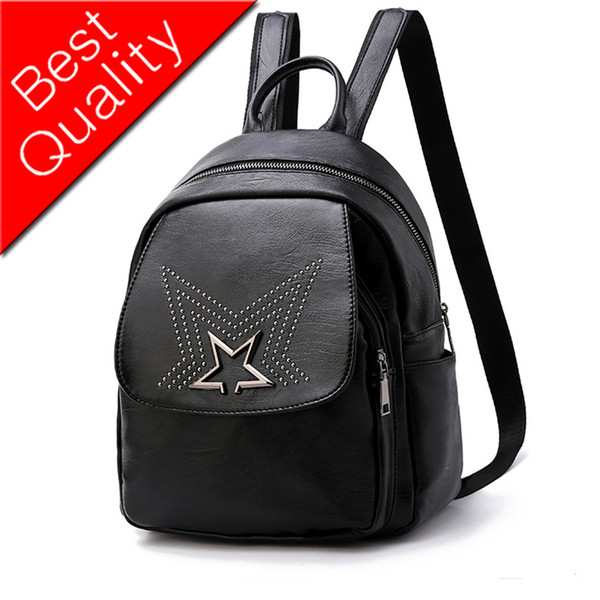 Women Backpack Leather Bag Travel Backpack Star Rivets School Bags For Teenager Girls Headphone Jack Sac A Dos Feminine Designer