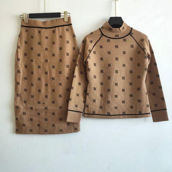 Designer Femmes Deux pièces Ens robe automne mode et à deux pièces Ens hiver Mode femme Pull + Robe Costumes avec lettre imprimée F