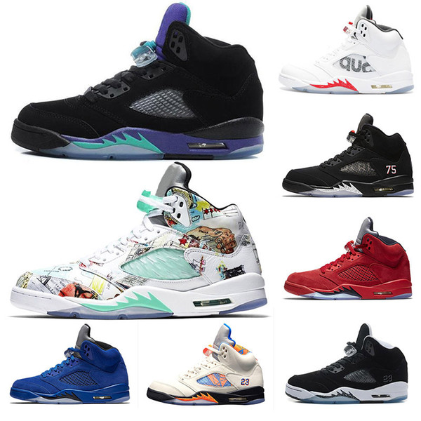 PSG 5 5s mens basketball shoes V psg x pairs Black Grape wings blue suede Red Camo Grey Designer sneakers Trainers size 7-13