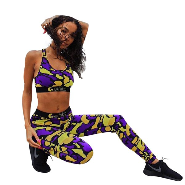 Women Camouflage Bra Pants Tracksuit Two Piece Outfits Summer Joggers Clothing Jogging Suits Sport Leggings Outfits Set camo LJJA2349