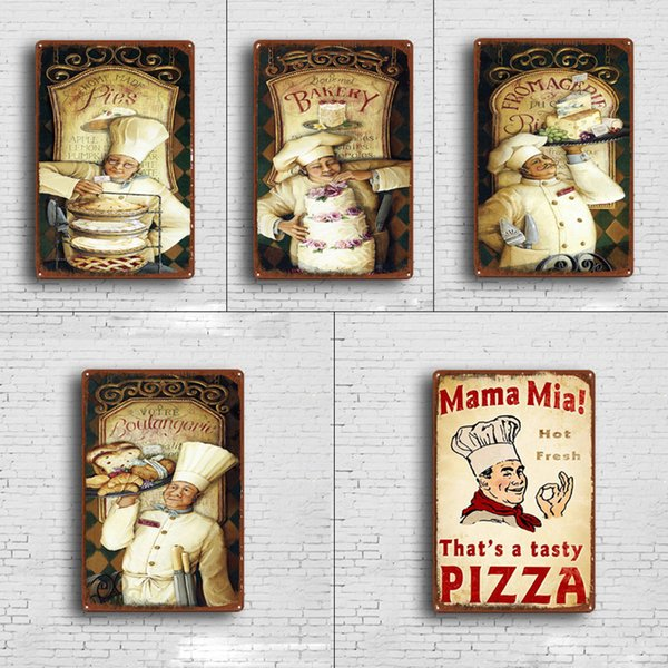 5 styles Cook Chef Retro Plate Metal Motor Vintage Craft Tin Sign Retro Metal Painting Poster Bar Pub Wall Art Decor Art Pictures 20*30cm