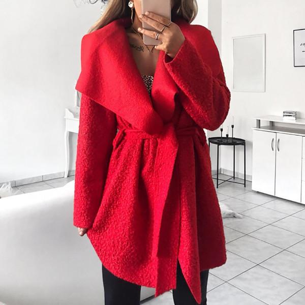 Autumn Winter Wool Blend Coat Women Long Sleeve Waterfall Cape Lapel Cool Loose Irregular Jacket With Belt Outwear Casaco 6Q2410