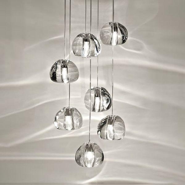 Moderno loft lampadario illuminazione palle cristal lustro villa cucina lampada a sospensione soggiorno scala lampadari di cristallo lunghi