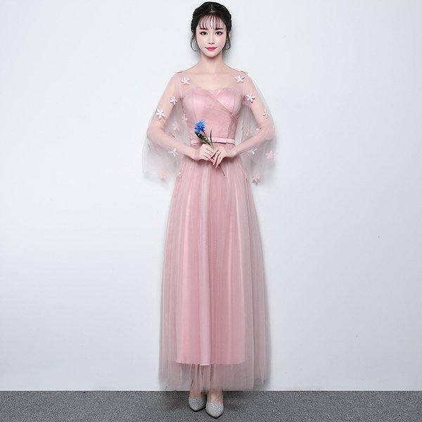 In Stock Long Appliques Cheap Junior Bridesmaid Dresses with Sleeves for Women Weddings Party Girls Prom Cocktail Mesh Evening Dresses
