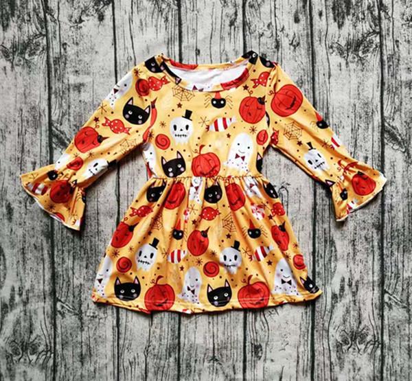 Sonbahar / kış Cadılar Bayramı elbise bebek kız uzun kollu turuncu hayalet kabak süt ipek ipek giyim butik çocuk giymek maç aksesuarları L