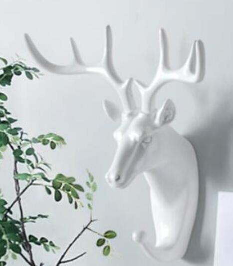 White animal head horse Elephant decorative coat hat hook wall decoration resin zebra home deer head cculpture statue