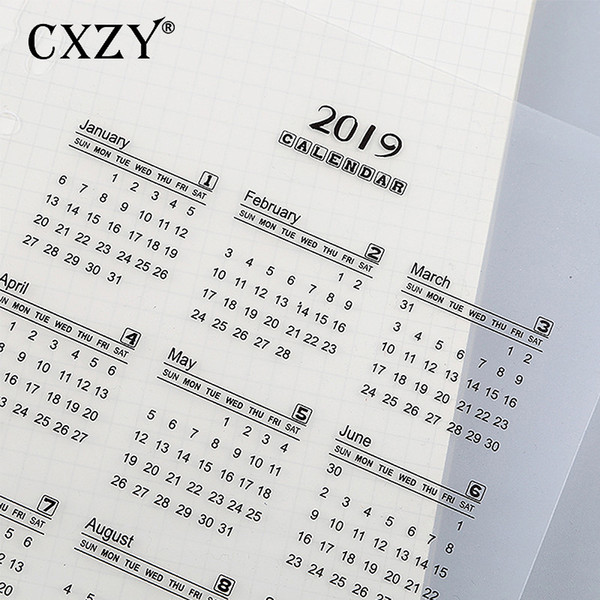 CXZY 2019 calendar PP binder standard 6 holes separator for A5 A6 notebook planner school supplies japanese stationery 4B822