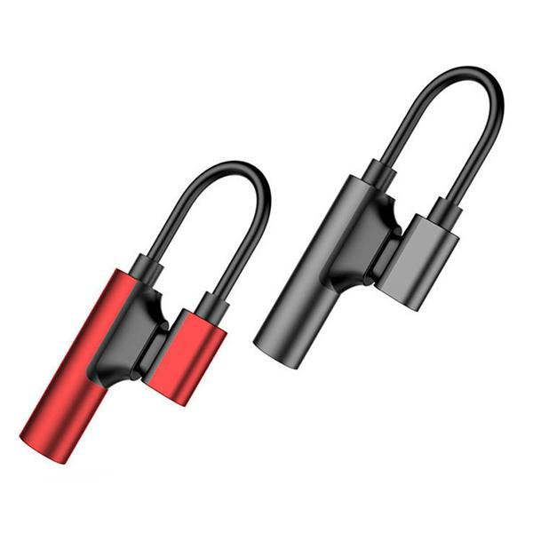 Auscultadores Jack adaptador 2 em 1 Type-C a 3,5 milímetros fone carregador cabo conector para Huawei Xiaomi Smartphone