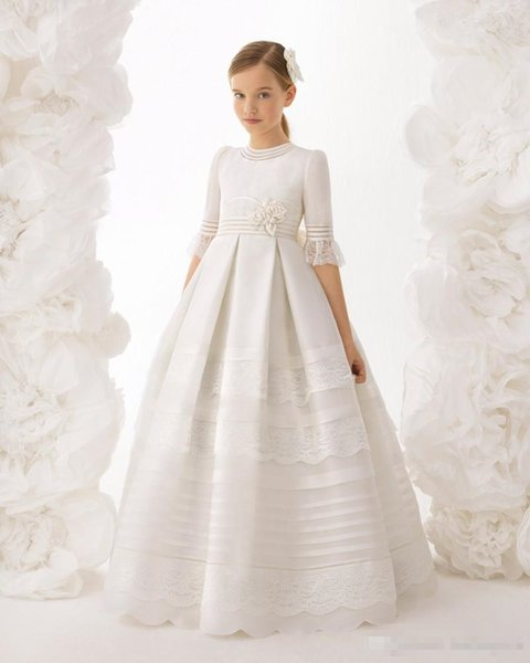 2019 Princess Ball Gown Flower Girl Dresses For Weddings Half Sleeves Girls Pageant Dress Lace Appliques Custom Made Communion Gowns