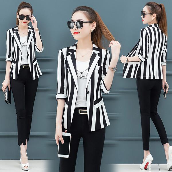 Compre Traje Pequeno Delgado A Rayas Blazers Y Chaquetas Para Mujer Tallas Grandes 2019 Otono Coreano