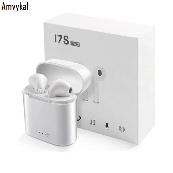 Evrensel I7 i7s TWS Bluetooth Kablosuz Kulaklık Kulakiçi Kulaklıklar Için Mic Ile iphone 7 8 XR XS Xiaomi LG Samsung S10 S9 S8