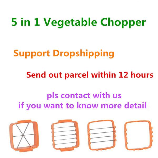 5 in 1 Nicer Quick Stainless Steel Vegetable Dicer Chopper Multi-functional Kitchen Mushroom Cucumber Onion Vegetable Cutter Slicer
