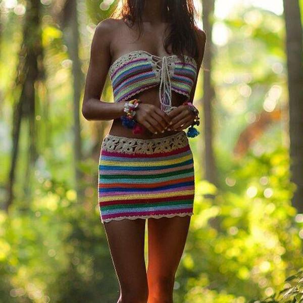 2 Teile / satz Handgemachte Bunte Gestreifte Badeanzug Vertuschungen Häkeln Gestrickte Bandage Bikini Top + Hohe Taille Rock Bademode Frauen Outfit