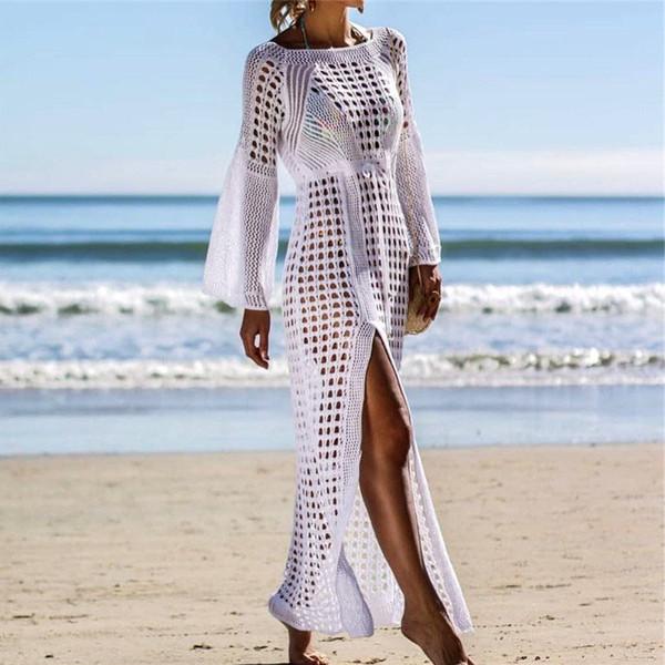 795f0f9ca2 2019 Sexy White Crochet Bikini Covers-Up Beach Coat Swimsuit Cover-Ups Lace  Beachwear Knitted Bikini Cover-up Long Beach Dress
