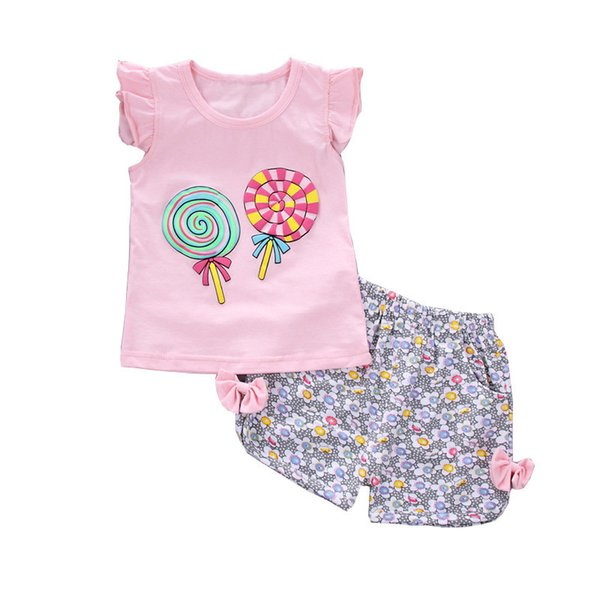 mochencheng2Pcs Set Newborn Infant Baby Girls Clothing Sets Sweet Print Summer Tops+Shorts Baby Sets Girl Clothes Kids Tracksuit