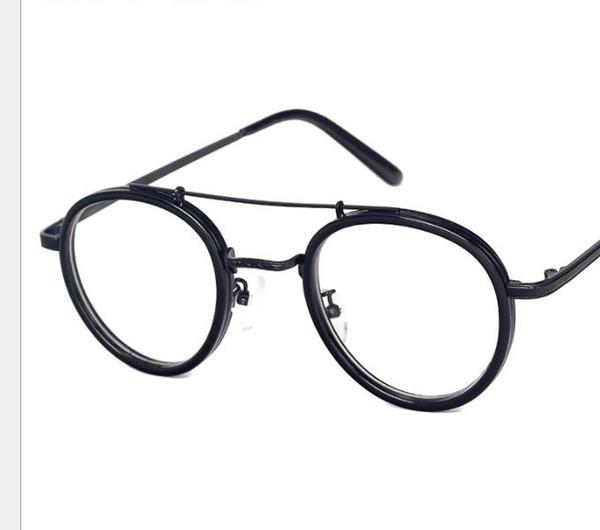 Boys'Literary and Art Glasses with Big Frame Metal Myopic Glasses Frame for Baitao Girls' Flat Mirror