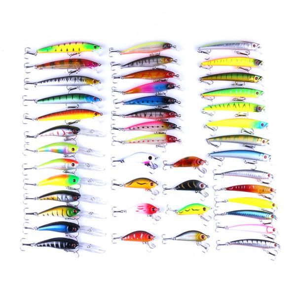 43 pçs / lote tamanho diferente cor Isca De Pesca Isca Dura Minnow Crankbait Wobblers Peche Baixo Iscas Artificiais Pike Carpa Iscas Swimbait