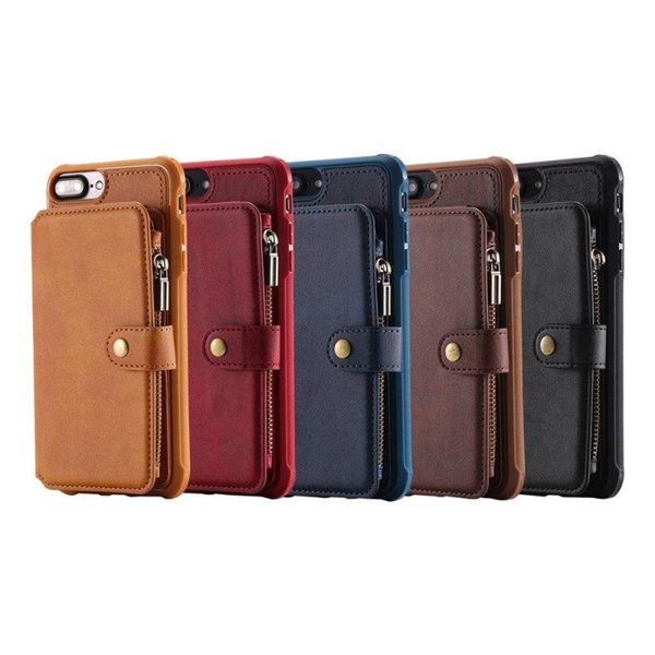 For Apple iPhone PU Leather Credit Card Holder Slot Cases with Zipper Wallet Money Pocket Protective Cover