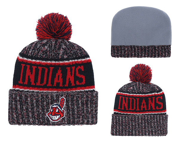 2018 New Sport Indians Baseball Skullies Hat Pom Cuffed Knitted Hats With Embroidered Team Logo Fans Fashion Winter Warm Women Beanies