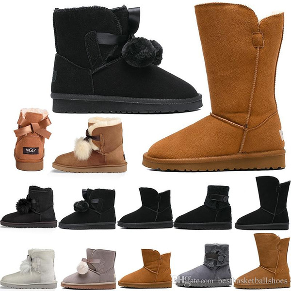 designer women Winter Snow Boots Fashion Australia Classic Short bow boot Ankle over the Knee Bow girl MINI Bailey booties 35-41