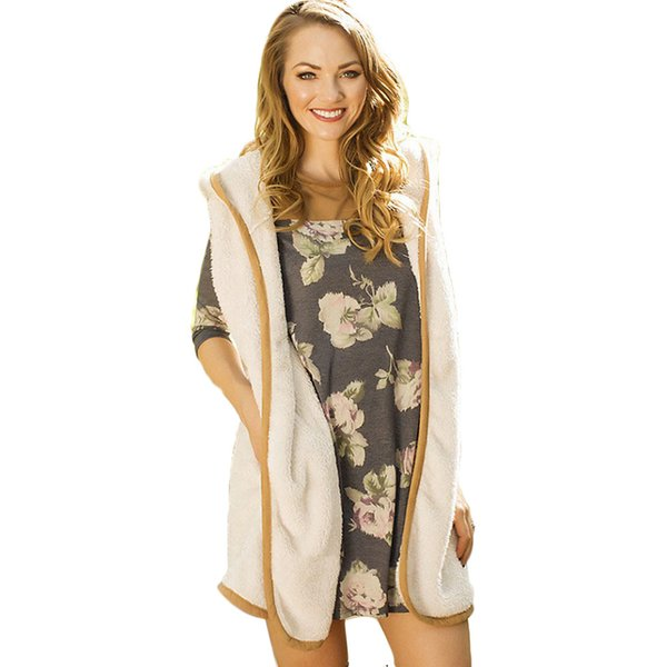 Women Spring Autumn Open Wool Front Vest Long Tunic Top Shawl Collar Draped Hooded Cardigan