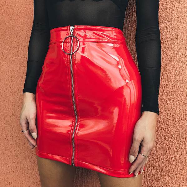 women high waist pu leather mini skirt plain flared pleated skirt pleated stretch pencil bodycon zipper mini skirts, Black