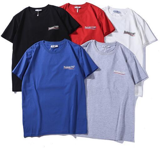 Calidad superior Europea Cola Wave Tee Marca BB Carta de Impresión Hombres y Mujeres Pareja Floja Cómoda Camiseta HFWPTX147