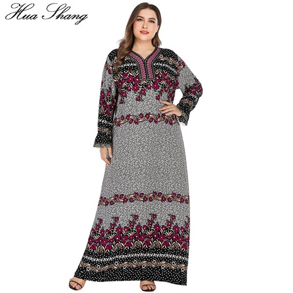 Floral Retro Vintage Muslim Dress Long Robe Tunic Plus Size Maxi Dress Kaftan Abaya Dubai Hijab Dresses Arab Islamic Clothing
