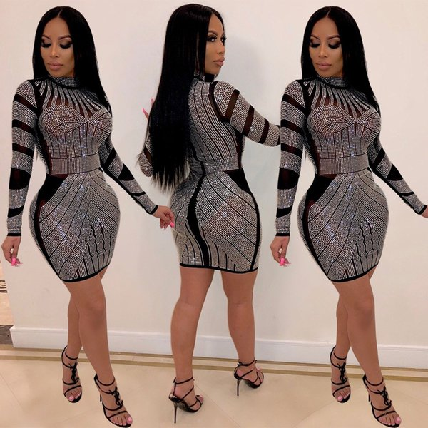 Womens See Through Long Sleeve Bodycon Dresses Sexy Sparkling Drill Party Dress K Sis Style INS