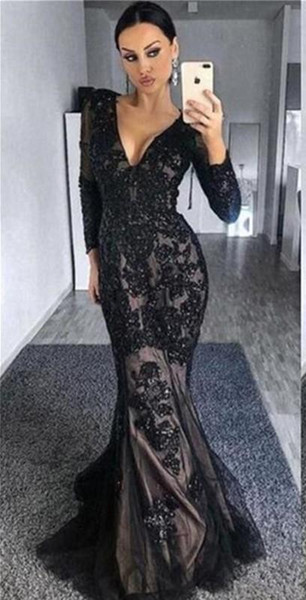 black Deep V Neck Mermaid Prom Dresses 2019 New Long Sleeves beaded Lace Applique Beading Formal Evening gowns Party Gowns Custom Made