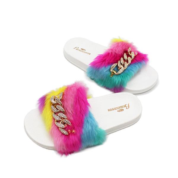 Moda donna pantofole signore Slip on Fluffy Faux Fur Flat Fashion Candy colore femminile Casual Slipper Flip Flop Sandal