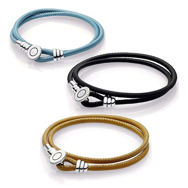 Genuine Leather Moments Black Double Leather Bracelet With Pans Button Clasp for Women DIY Bead Charm Bangles Jewelry Gift