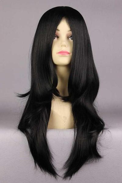 PERUK LL YENI COS Ücretsiz NARUTO-Orochimaru 45 cm Uzun Siyah dalgalı Kadın Sentetik Lolita cosplay Tam Peruk