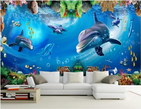 Papier der Wand 3d für kundenspezifisches Foto des Wohnzimmers Unterwasserweltdelphinfisch-Walhintergrundausgangsdekor Tapete der Wandwandbilder 3d für Wände 3 d