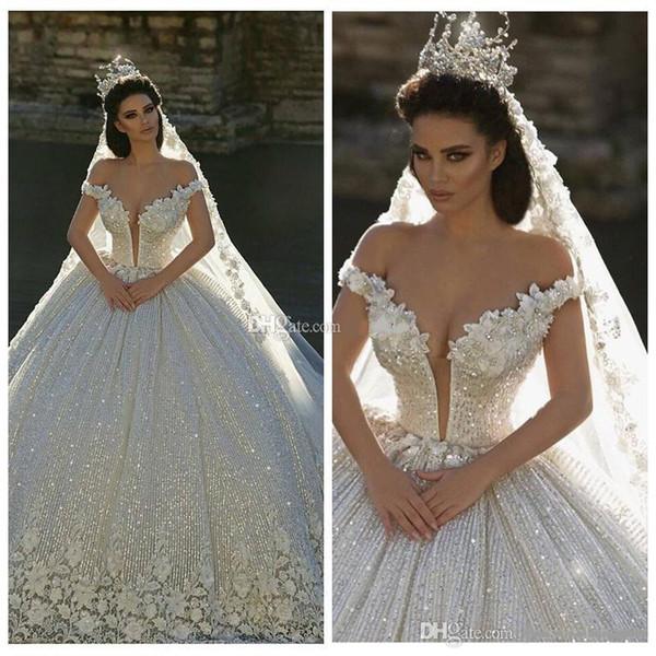 Mais novo 2019 fora do ombro rendas apliques vestido de baile vestidos de casamento de lantejoulas vestidos de noiva capela trem formal igreja árabe dubai
