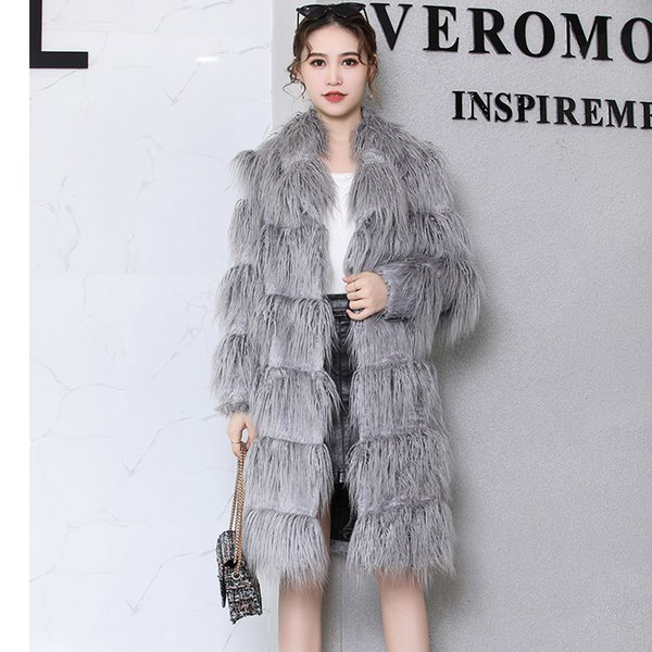 Zu Faux Pelzmantel Frauen 2019 Winter grau langhaarige Pelz flauschige gefälschte fu Jacke plus Größe Frauen Kleidung 4xl 5xl 6xl 7XL T191128